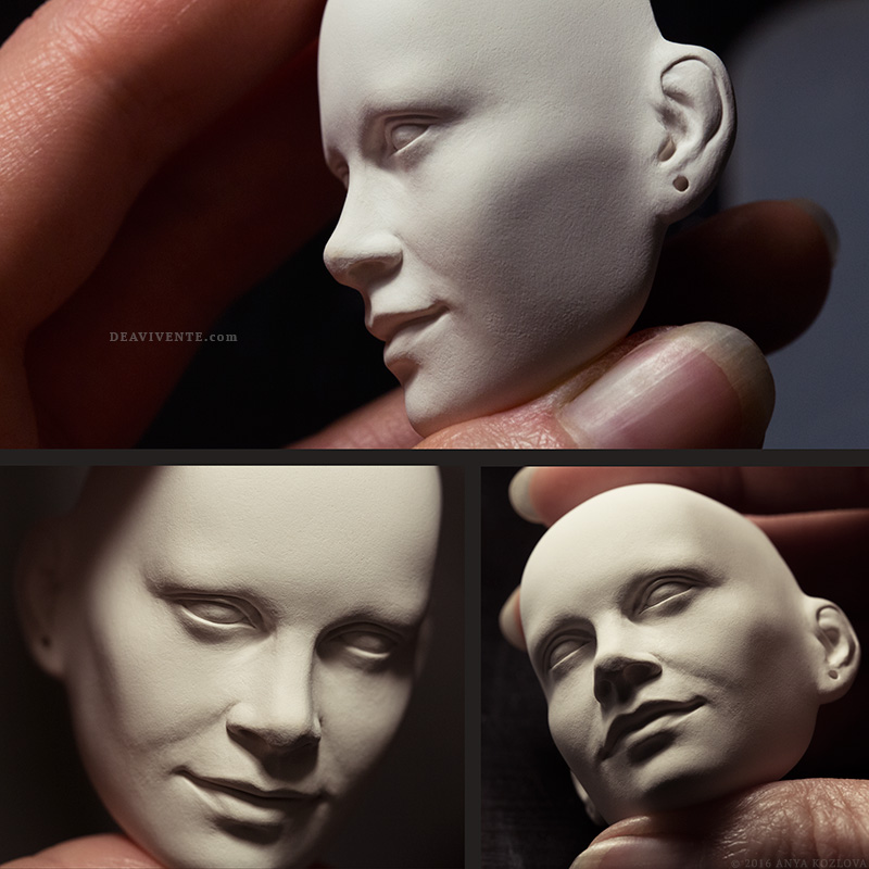 Porcelain face sculpture collage